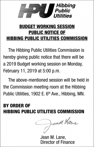 Budget Working Session Public Notice Of Hibbing Public Utilities Commission