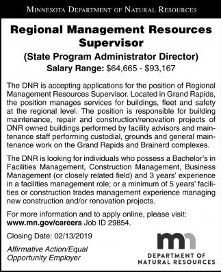 Regional Management Resources