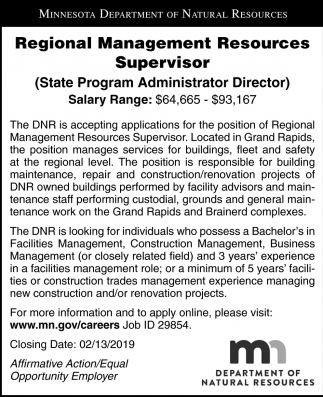 Regional Management Resources Supervisor