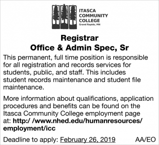 Registar Affice & Admin Spec, Sr