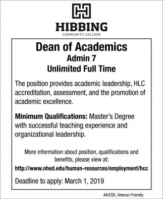 Dean Of Academics