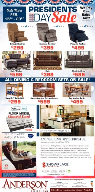 Presidents Day Sale Anderson Furniture Duluth Mn