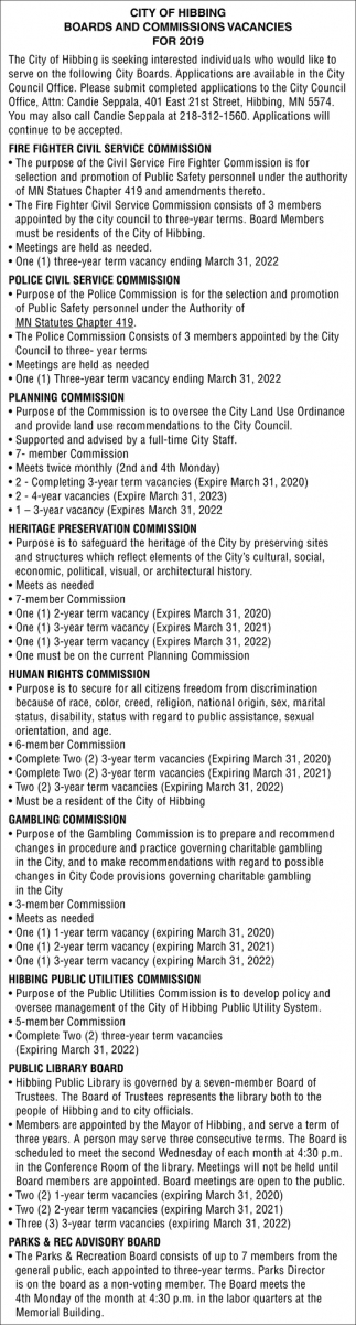 Board And Commissions Vacancies