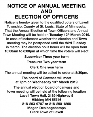 Annual Meeting And Election Of Officers