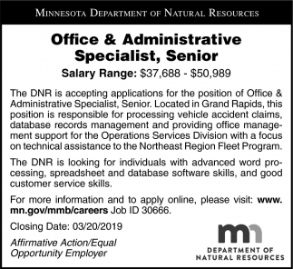 Office & Administrative Specialist, Senior