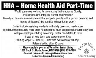 Home Health Aid Part-Time