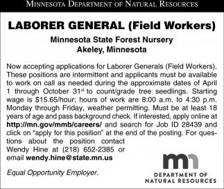 Laborer General Field Workers