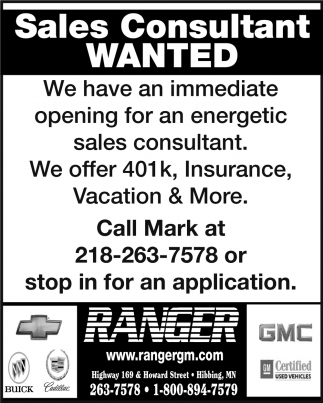 Sales Consultant Wanted