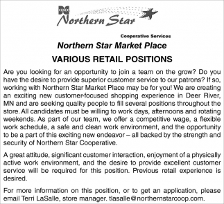 Various Retail Positions