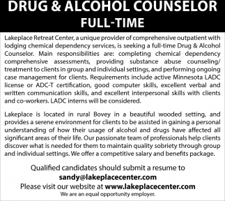 Drug & Alcohol Counselor Full-Time