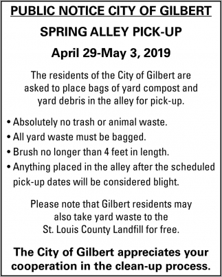 Public Notice City Of Gilbert