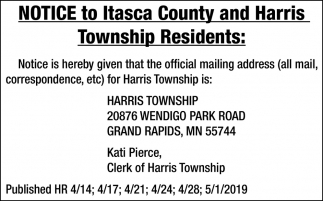 Notice To Itasca County And Harris Township Residents