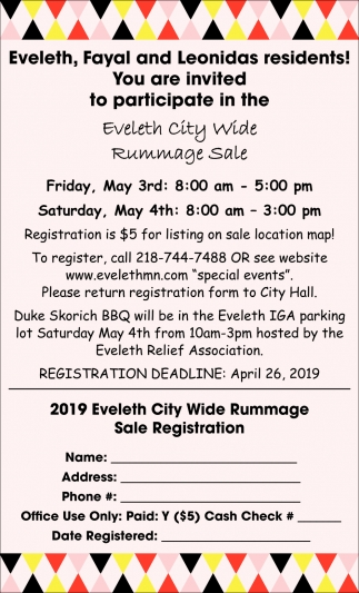 Eveleth City Wide Rummage Sale