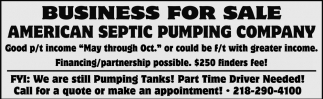 Business For Sale, American Septic Pumping Company, Spring
