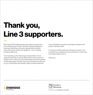 Thank You, Line 3 Replacement