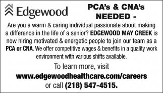 PCA's & CNA's NEEDED