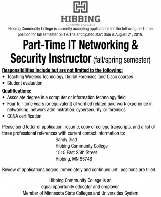 Part Time IT Networking & Security Instructor