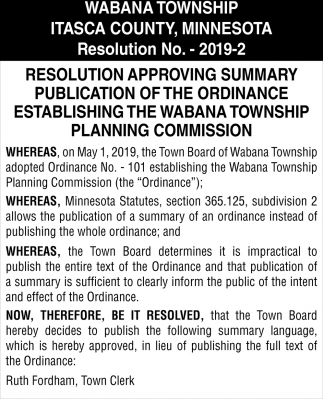 Resolution Approving Summary Publication