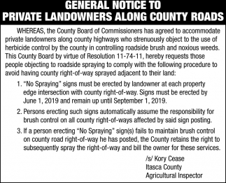 General Notice To Private Landowners Along County Roads
