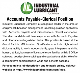Accountants Payable-Clerical Position