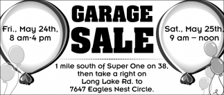 Sat  May 25th, Garageee Sale