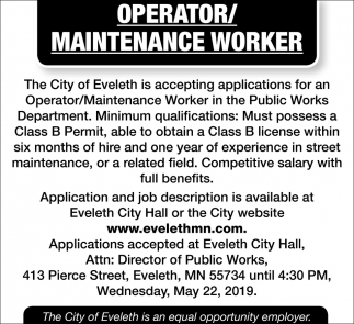 Operator / Maintenance Worker
