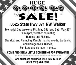 Huge Memorial Day Sale!