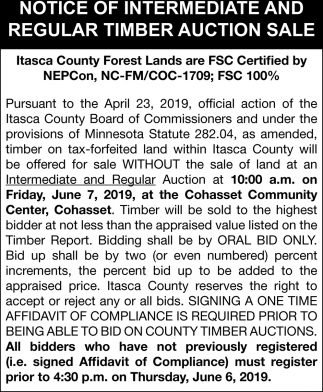Notice Of Intermediate And Regular Timber Auction