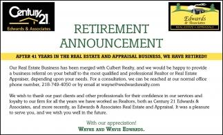 retirement announcement century 21 edwards and associates