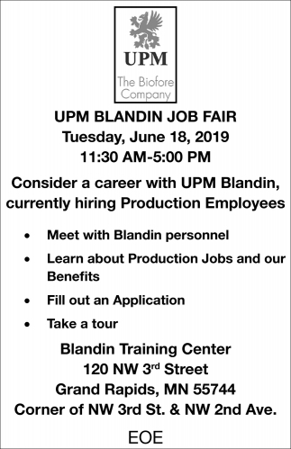 Consider A Career With UPM