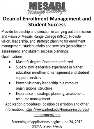 Dean Of Enrollment Management And Student Success