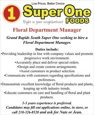 Floral Department Manager