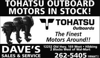 Tohatsu Outboars Motors In Stock!