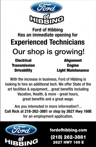 Ford Of Hibbing >> Experienced Technicians Ford Of Hibbing Hibbing Mn