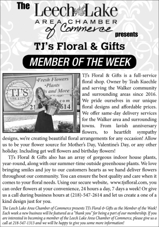 TJ's Floral & Gifts Member Of The Week