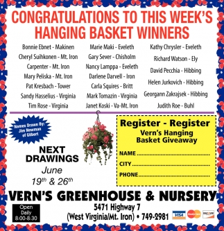 Congratulations To This Week's Hanging Basket Winners