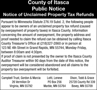 Notice Of Unclaimed Property Tax Refunds