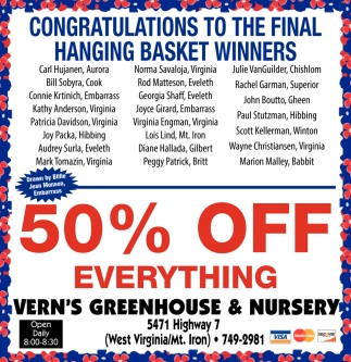 Congratulations To The Final Hanging Basket Winners