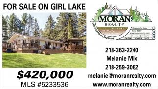 For Sale On Girl Lake