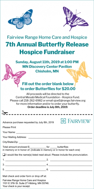 7th Annual Butterfly Release Hospice Fundraiser