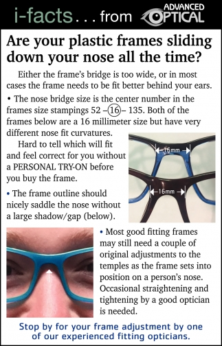 Are Your Plastic Frames Sliding Down Your Nose All The TIme?