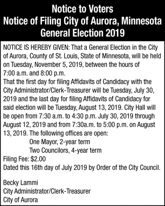 Notice Of Filing City Of Aurora