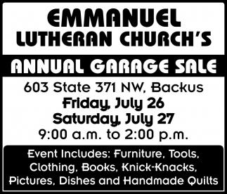 Annual Garage Sale, Emmanuel Lutheran Church, Backus, MN