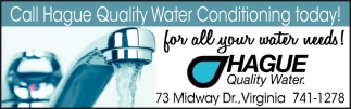 Call Hague Quality Water Conditioning Today!