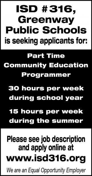 Part Time Community Education Programmer
