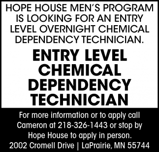 Entry Level Chemical Dependency Technician
