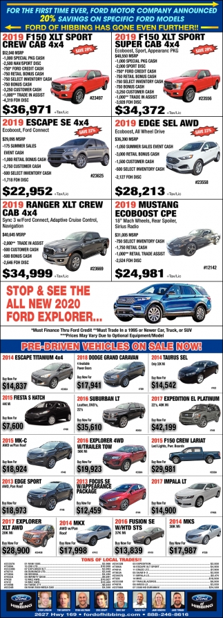 20% Savings On Specific Ford Models
