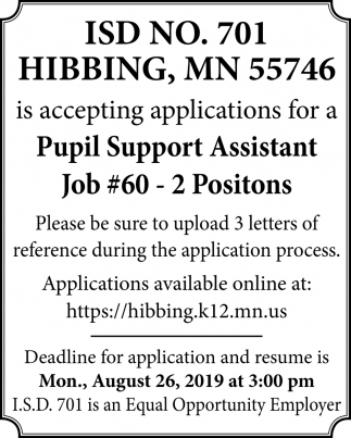 Is Accepting Applications For A Pupil Support Assistant