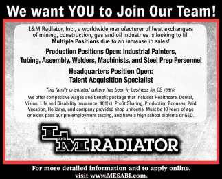 We Want You To Join Our Team!
