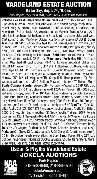 Vaadeland Estate Auction